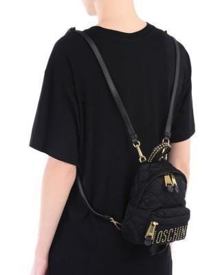 意大利MOSCHINO莫斯奇诺 黑色尼龙铆钉菱格纹女士双肩包 B7610-8203-2555