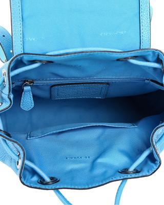 美国Coach蔻驰 蓝色牛皮女士双肩包  小号 37581-SVTU