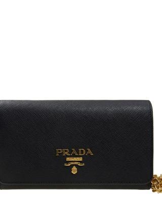 意大利 PRADA 普拉达 黑色牛皮女士单肩包 1BP005 NZV F0002