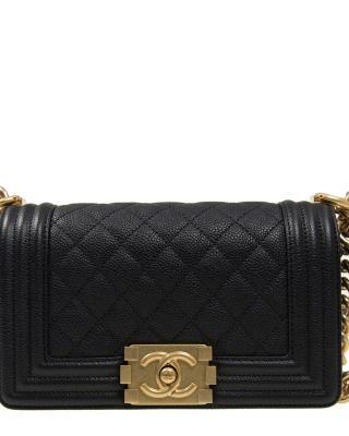 法国 CHANEL 香奈儿 黑色金扣牛皮女士单肩包 A67085