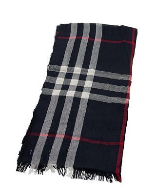 英国 BURBERRY 巴宝莉 蓝色羊毛围巾 3828274
