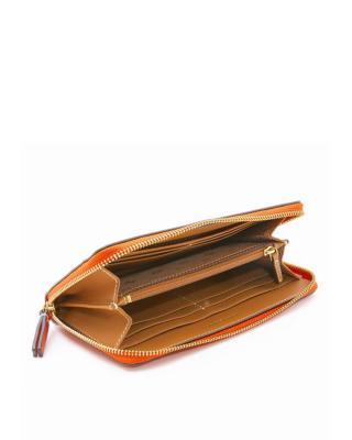 美国Tory Burch汤丽柏琦  亮橙色真皮女士长款拉链手拿钱包 36730-818