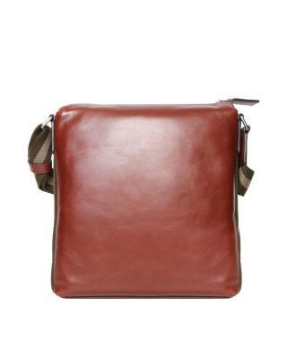 瑞士Bally巴利 红棕色男士牛皮竖款单肩斜挎邮差包 6199563 SM412