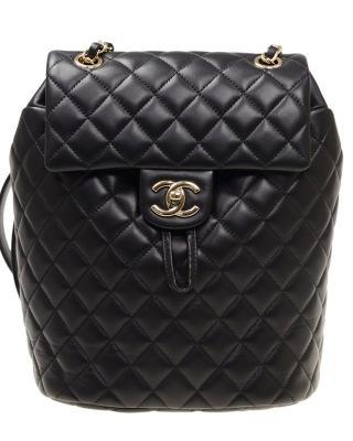 法国 CHANEL 香奈儿 黑色羊皮金扣女士双肩包 A91121LBLKGP