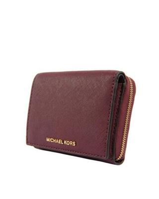 美国 Michael Kors迈克高仕 酒红色牛皮女士拉链短款钱包 32F6GTV-F2L-PLUM