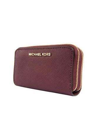 美国 Michael Kors迈克高仕 酒红色斜纹牛皮女士手拿钱包 32F6GTV-D4L-PLUM