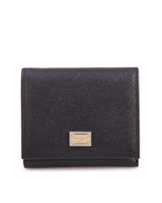 意大利 Dolce & Gabbana 杜嘉班纳 优雅黑压纹牛皮经典简约女士短款钱夹 BI0088 A1001 80999