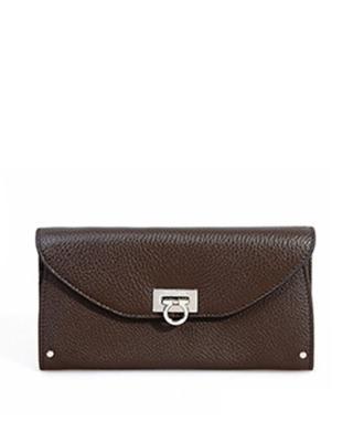 意大利 Ferragamo 菲拉格慕 深棕色真皮经典复古时尚女士手拿包
