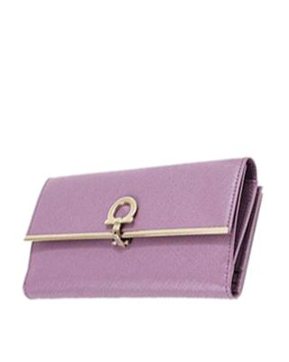 意大利 Salvatore Ferragamo 菲拉格慕 粉紫色名媛范真皮女士手拿包 600475LILA