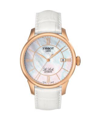 瑞士名表 Tissot 天梭 白色珍珠贝母力洛克自动机械皮带中性腕表 T41.6.453.83