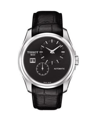 瑞士名表 Tissot 天梭 黑色真皮镂空自动机械男表T035.428.16.051.00