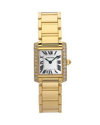 Cartier 卡地亚 Tank Francaise 18K黄金纯天然钻石女士石英腕表 E1001R8