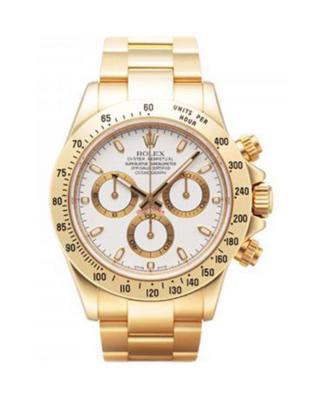 Rolex 劳力士 Daytona蚝式万年历 18K黄金锁扣式表带白色表盘三眼计时男士腕表 116528ws