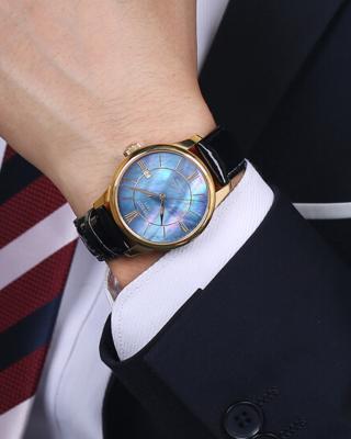 瑞士名表 Tissot 天梭 力洛克系列深蓝色真皮自动机械男士腕表T41.5.423.93