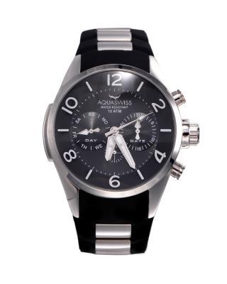 Aquaswiss 瑞士水绿 316L精钢黑色硅胶男士瑞士石英手表 TR805011