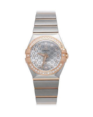 瑞士 Omega 欧米茄星座系列Cal.137618K玫瑰金镶钻石英女士手表 123.25.27.60.52.001