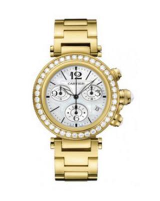 Cartier 卡地亚 Pasha Seatimer 18K黄金纯天然钻石女士防水计时石英腕表 J130007
