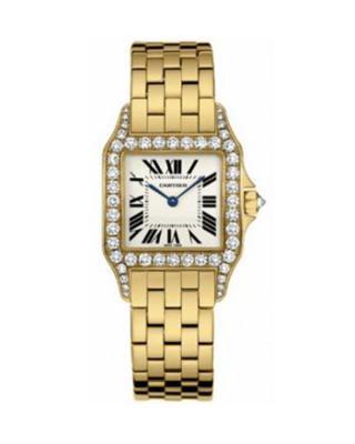 Cartier 卡地亚 Santos Demoiselle 18K黄金纯天然钻石女士石英腕表 F9002Y7