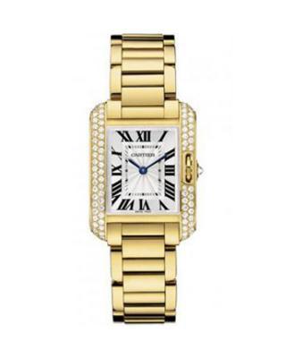 Cartier 卡地亚 Tank系列 18K黄金纯天然钻石女士石英腕表 WT100005