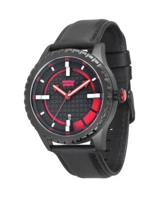 美式潮牌 Levi's 李维斯黑色真皮石英机芯中性手表