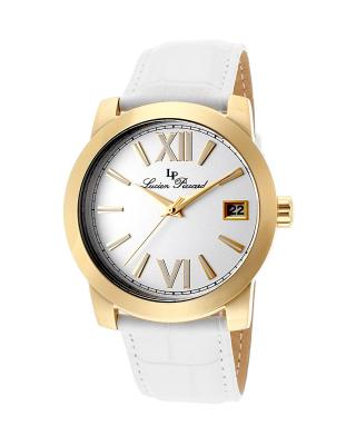Lucien Piccard 卢森皮卡尔 纯白色OL必备简约款自带日历真皮表带女士石英腕表 LP-10026-YG-02-WH