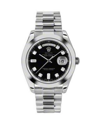 Rolex 劳力士 Day Date II President铂金蚝式 万年历  黑色纯天然钻石 机械男士腕表 218206bkdp