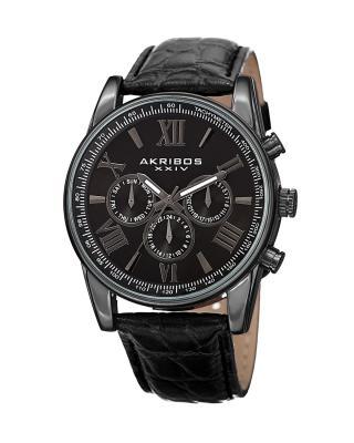 Akribos XXIV 阿克波斯 黑色真皮全黑表盘计时男士石英腕表