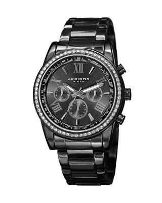 Akribos XXIV 阿克波斯 黑色精钢表链镶施华洛世奇水晶表圈男士石英腕表