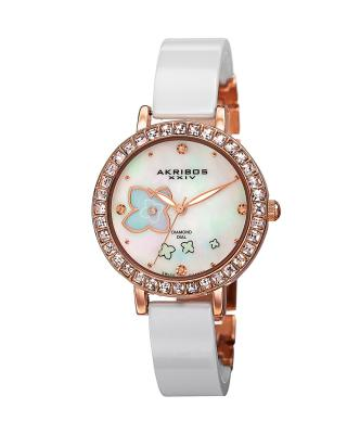 Akribos XXIV 阿克波斯  陶瓷白色镶水晶石英女士腕表