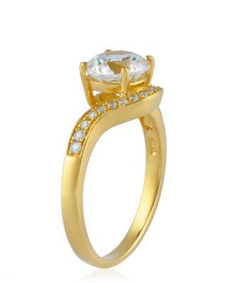 Celine Fang 赛琳·方 925银镀黄金锆石戒指