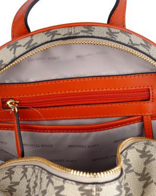 美国 Michael Kors迈克高仕 橙色牛皮女士拉链开合学院双肩包 30H6AEZ-B2V-Nat/Orange