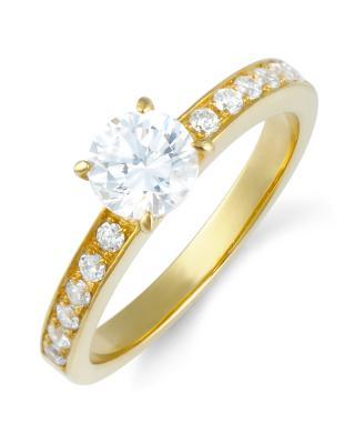 Celine Fang 赛琳·方 925银镀黄金锆石情侣戒指