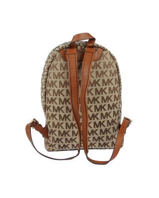 美国原装进口 Michael Kors 迈克高仕 棕色LOGO字母图案女士双肩包 WA19242-BROWN (A)