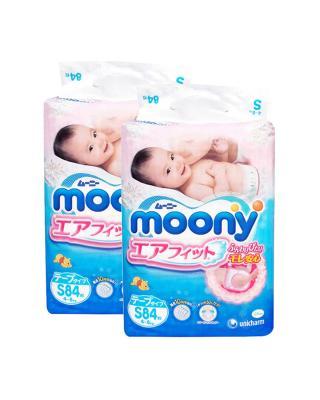 日本 Moony 尤妮佳纸尿裤S84 适用于4-8kg宝宝 两件装