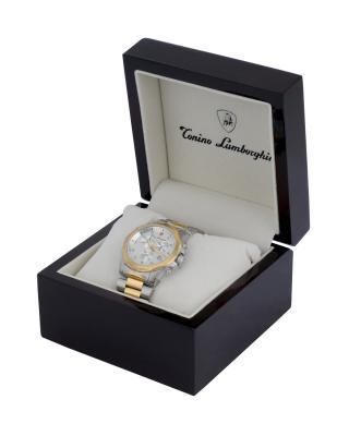 Tonino Lamborghini 兰博基尼金色316L精钢0.05克拉钻石男士计时石英腕表 EN033D.302