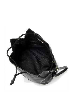 意大利 PRADA 普拉达 黑色尼龙抽绳小号女士水桶包 1NE369-067-F0002
