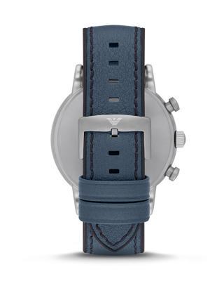 意大利 Emporio Armani 安普里奥·阿玛尼蓝色皮革日历男士石英手表 AR1969