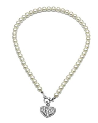 Buckley London 白色水钻爱心形珍珠项链