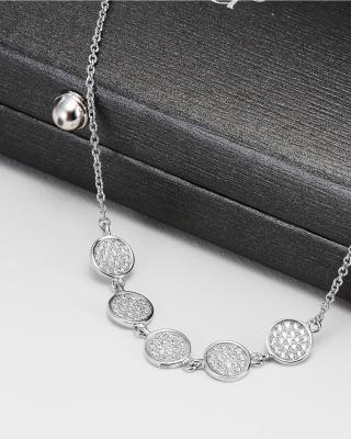 美国 CRISLU 925银5圆形锆石女士手链