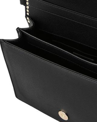 意大利 Moschino 莫斯奇诺 女士黑色皮革铆钉蝴蝶结手提单肩包 A7509-8210-0555