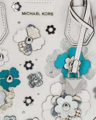 美国原装进口 Michael Kors 迈克高仕 女士白色牛皮花朵手提单肩包 30S8SZ5T0N-OPWHT MULTI