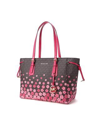 美国 Michael Kors 迈克高仕 VOYAGER系列 女士棕色紫红色PVC花卉图案手提单肩包 30S8GV6T2V-ULTRA PINK