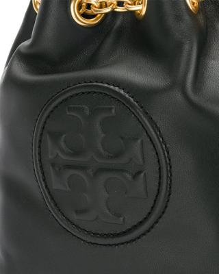美国 Tory Burch 汤丽柏琦 女士黑色皮革水桶包 46237-001