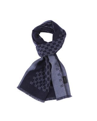 意大利 Gucci 古驰 男士深蓝/灰色双面logo提花羊毛围巾 391246 4G200_4569