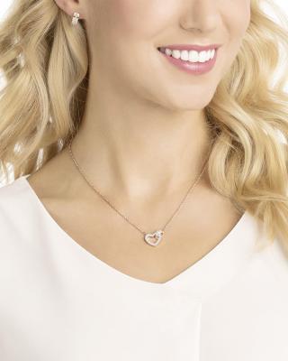 奥地利原装进口 Swarovski 施华洛世奇 LOVE时尚爱心项链耳饰套装 玫瑰金色5380718