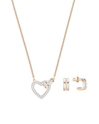 奥地利 Swarovski 施华洛世奇 LOVE时尚爱心项链耳饰套装 玫瑰金色5380718