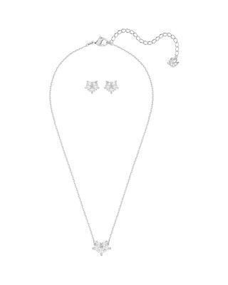 奥地利原装进口 Swarovski 施华洛世奇 LADY时尚水晶花朵项链耳饰套装 银色5408432