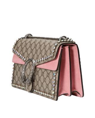 意大利 Gucci 古驰 Dionysus系列女士镶珠串珠单肩链条包 酒神包 粉色/卡其色 403348-9F2FN-8357