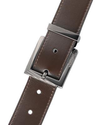 意大利原裝進口 Versace 范思哲 男士深棕色真皮針扣腰帶 V91S175VM00046V239 #90碼