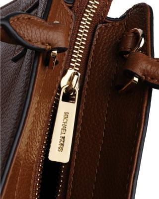 美国原装进口 Michael Kors 迈克高仕 女士棕色皮革小号手提斜跨单肩包 35T8GKRS2L-LUGGAGE/CITRUS